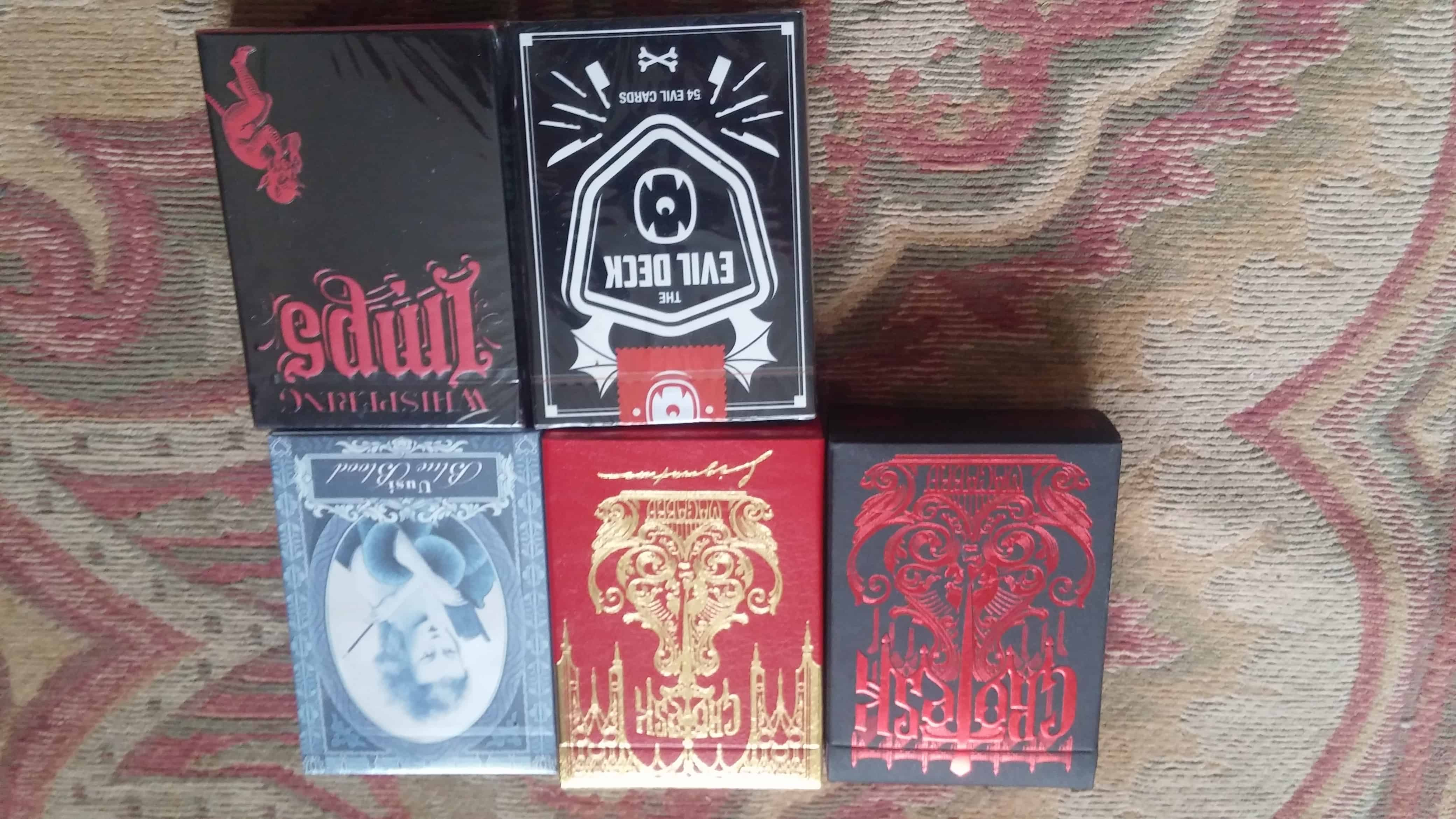 These decks are up for trade or sale. The vertical black book, deco and viper are not in brilliant c