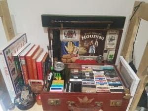 Here's my collection of playing cards, magic books, tricks etc. In my collection I have a mona