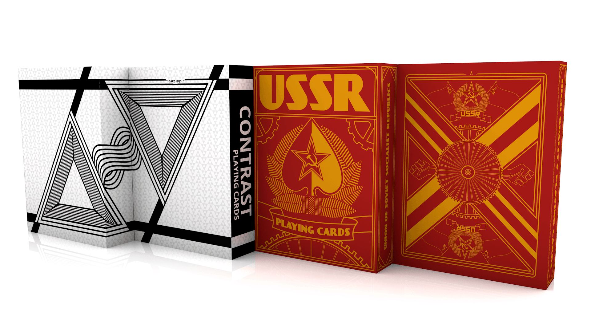 My custom deck Contrast Playing Cards and also a little shot of my USSR Deck. What do you guys think